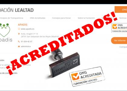 APADIS renueva el Sello de la Fundación Lealtad como ONG transparente
