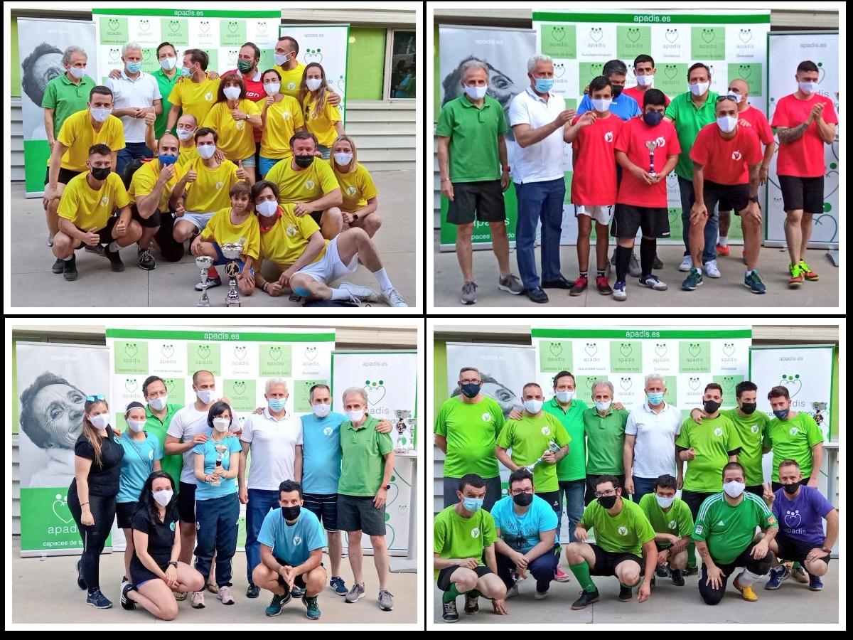Los Equipos posan con sus trofeos entregados por el Alcalde de San Sebastián de los Reyes
